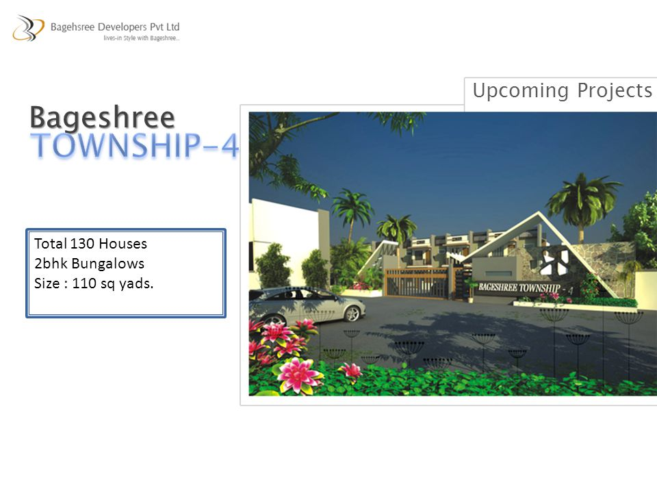 Total 130 Houses 2bhk Bungalows Size : 110 sq yads. Bageshree Upcoming Projects
