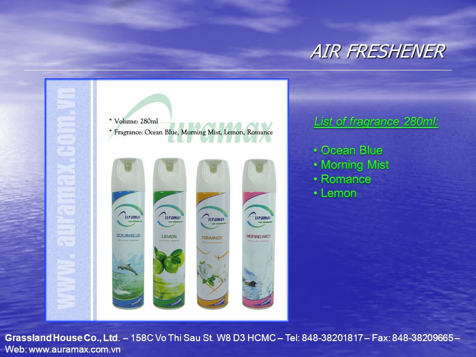 AIR FRESHENER Grassland House Co., Ltd. – 158C Vo Thi Sau St.