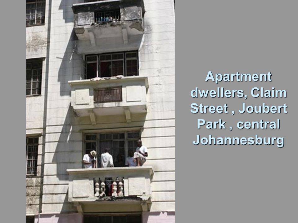 Apartment dwellers, Claim Street, Joubert Park, central Johannesburg