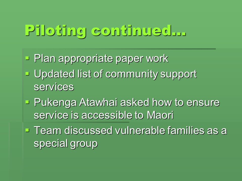 Piloting continued… Plan appropriate paper work Plan appropriate paper work Updated list of community support services Updated list of community suppo