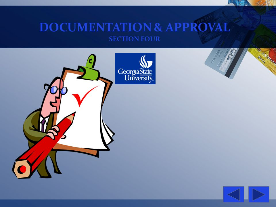 DOCUMENTATION & APPROVAL SECTION FOUR