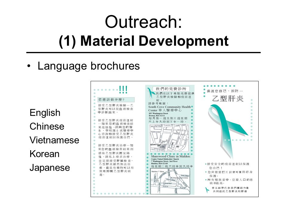 Outreach: (1) Material Development Language brochures English Chinese Vietnamese Korean Japanese