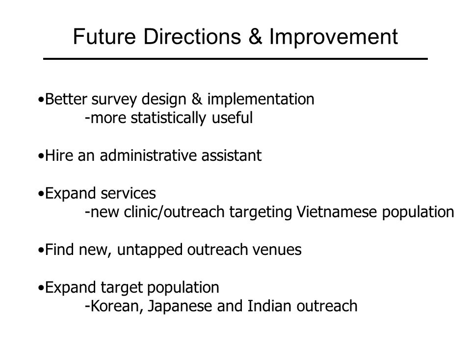 Future Directions & Improvement Better survey design & implementation -more statistically useful Hire an administrative assistant Expand services -new clinic/outreach targeting Vietnamese population Find new, untapped outreach venues Expand target population -Korean, Japanese and Indian outreach