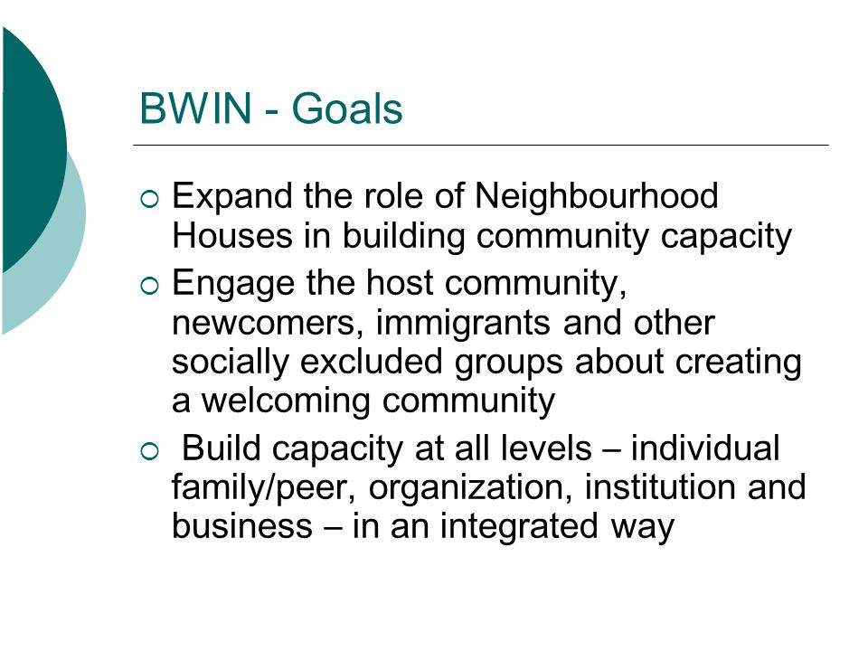 BWIN - Goals Identify meaningful ways to promote dialogue about exclusion and racism Support learning about barriers to inclusion and changes needed to address them Evaluate the effectiveness of the pilot project delivery model