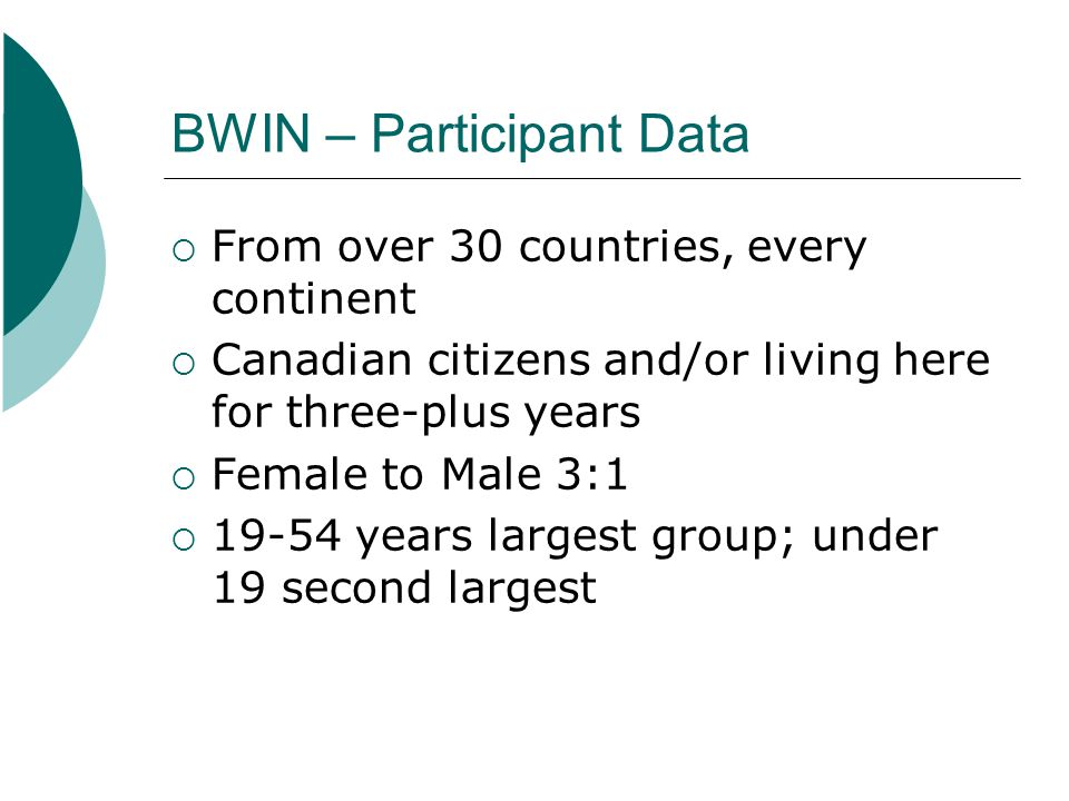BWIN – Participant Data From over 30 countries, every continent Canadian citizens and/or living here for three-plus years Female to Male 3:1 19-54 yea