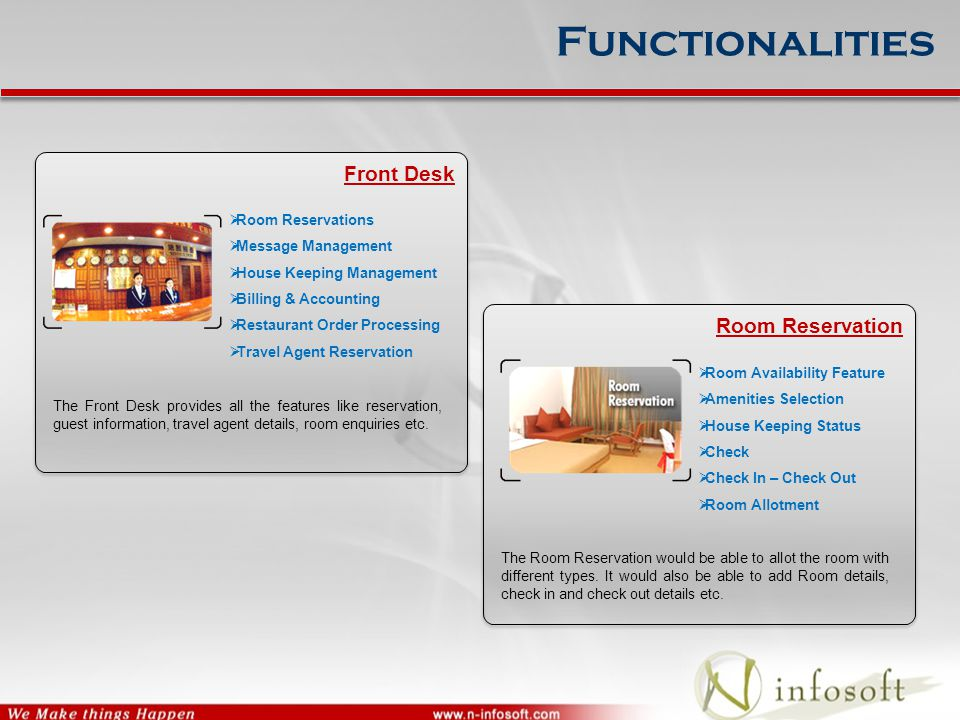 Functionalities Front Desk The Front Desk provides all the features like reservation, guest information, travel agent details, room enquiries etc.