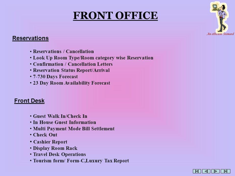 FRONT OFFICE Reservations / Cancellation Look Up Room Type/Room category wise Reservation Confirmation / Cancellation Letters Reservation Status Report/Arrival 7-730 Days Forecast 23 Day Room Availability Forecast Reservations Guest Walk In/Check In In House Guest Information Multi Payment Mode Bill Settlement Check Out Cashier Report Display Room Rack Travel Desk Operations Tourism form/ Form-C,Luxury Tax Report Front Desk