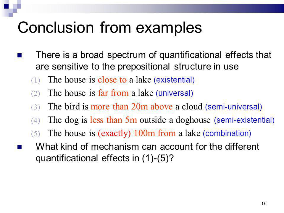 16 Conclusion from examples There is a broad spectrum of quantificational effects that are sensitive to the prepositional structure in use (1) The hou