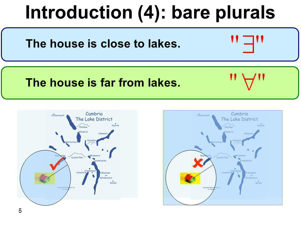 5 The house is far from lakes. The house is close to lakes. Introduction (4): bare plurals