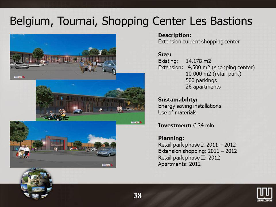 Belgium, Tournai, Shopping Center Les Bastions Description: Extension current shopping center Size: Existing:14,178 m2 Extension: 4,500 m2 (shopping center) 10,000 m2 (retail park) 500 parkings 26 apartments Sustainability: Energy saving installations Use of materials Investment: 34 mln.