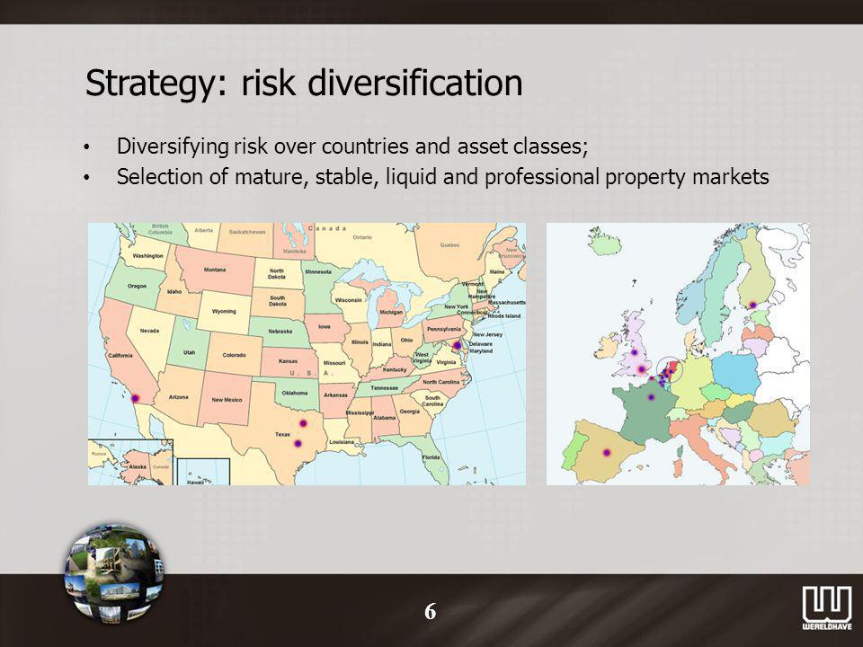 Strategy: risk diversification Diversifying risk over countries and asset classes; Selection of mature, stable, liquid and professional property markets 6
