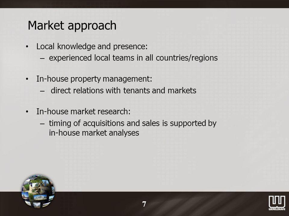 Market approach Local knowledge and presence: – experienced local teams in all countries/regions In-house property management: – direct relations with tenants and markets In-house market research: – timing of acquisitions and sales is supported by in-house market analyses 7