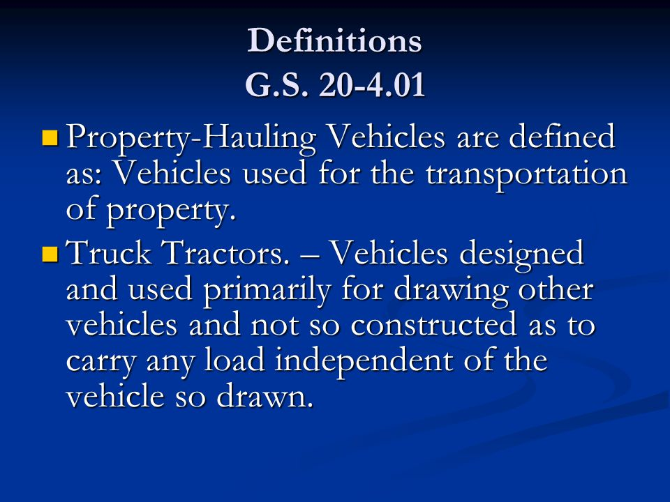 Definitions G.S.