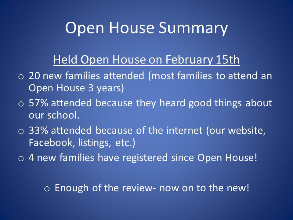 Open House Summary Held Open House on February 15th o 20 new families attended (most families to attend an Open House 3 years) o 57% attended because they heard good things about our school.