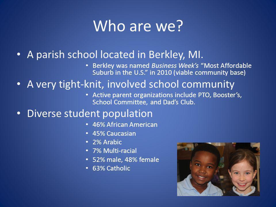 Current Enrollment Pre-K: 21 total (11-4 year olds, 10-3 year olds) 18 Catholic K-8: 103 Students Breakdown : K: 11 1: 7 2: 16 3: 14 4: 6 5: 13 6: 14 7: 14 8: 8