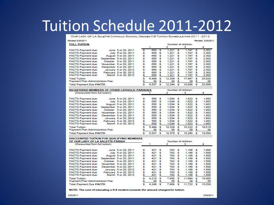Tuition Schedule 2011-2012