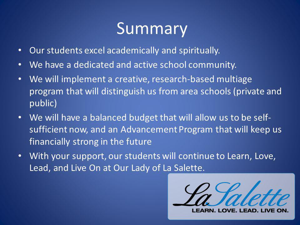 Summary Our students excel academically and spiritually.