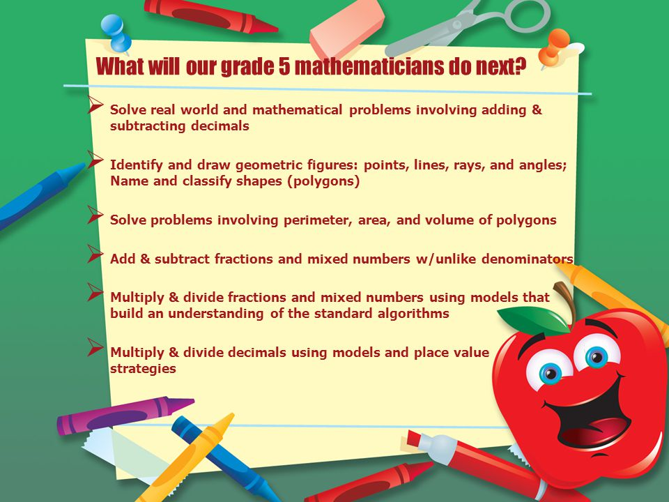 What will our grade 5 mathematicians do next.