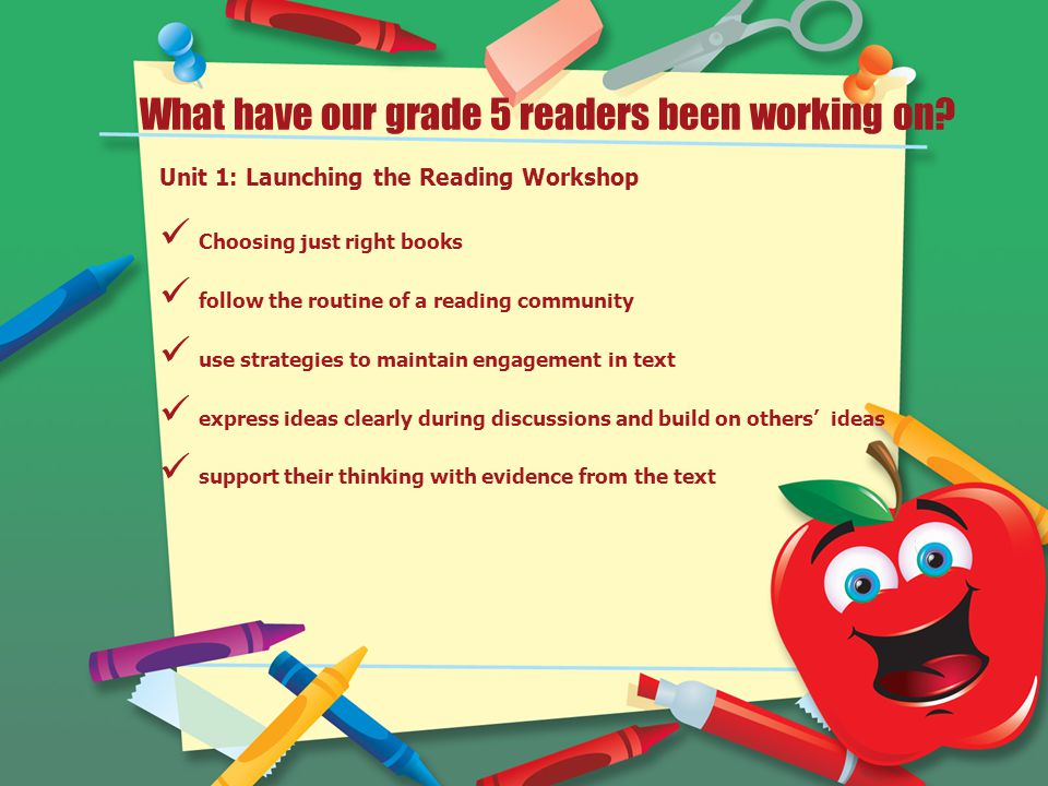 What have our grade 5 readers been working on.