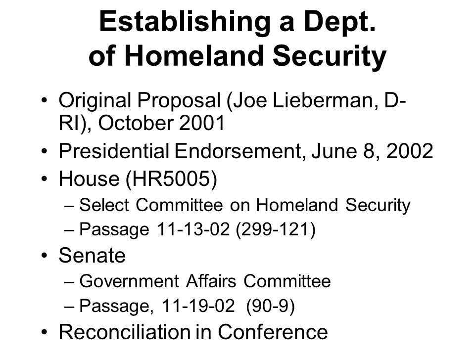Establishing a Dept. of Homeland Security Original Proposal (Joe Lieberman, D- RI), October 2001 Presidential Endorsement, June 8, 2002 House (HR5005)
