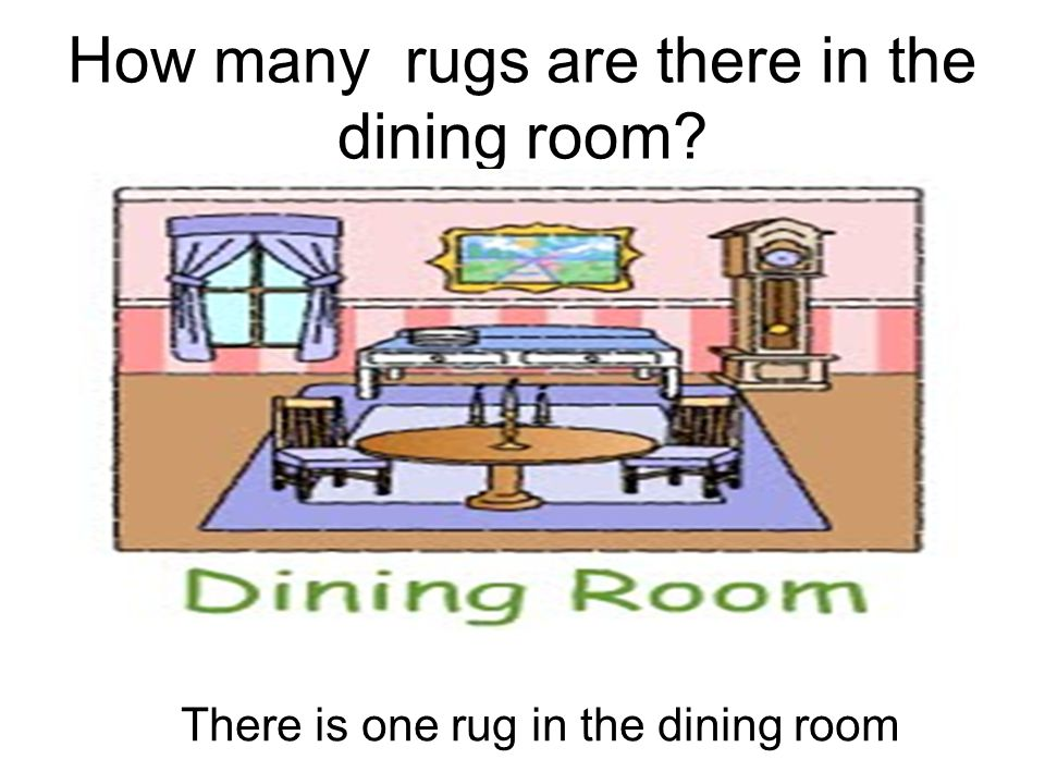How many rugs are there in the dining room? There is one rug in the dining room