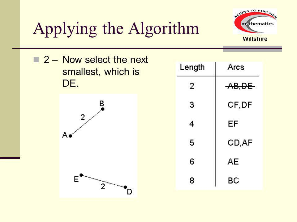 Wiltshire Applying the Algorithm 1 – Start by selecting the smallest arc, AB or DE, it makes no difference.