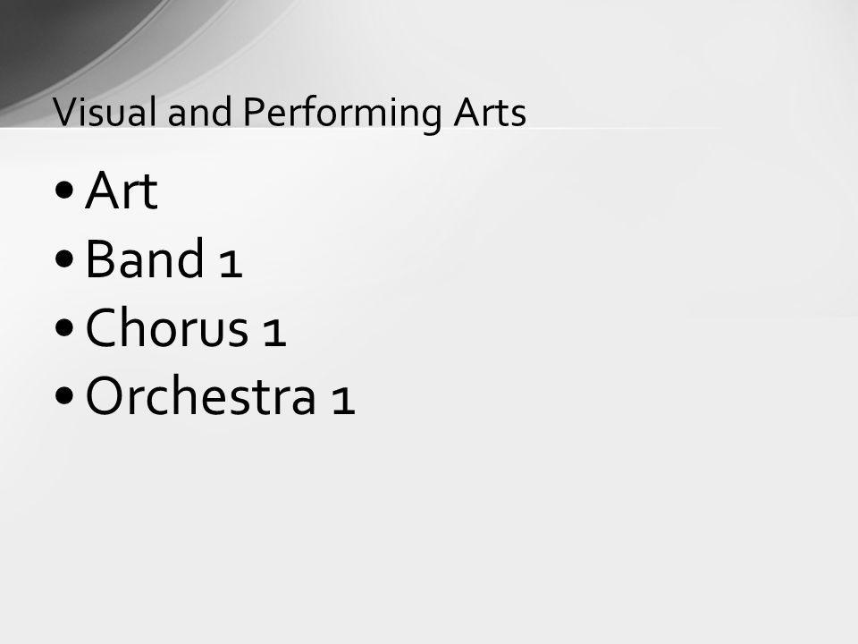Art Band 1 Chorus 1 Orchestra 1 Visual and Performing Arts