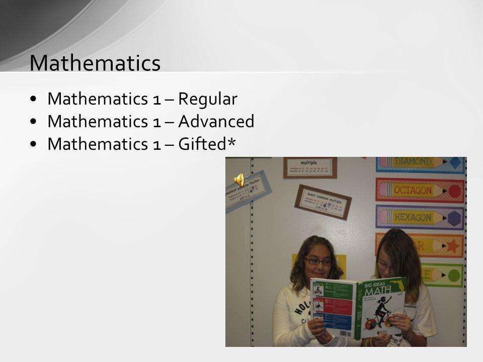 Mathematics 1 – Regular Mathematics 1 – Advanced Mathematics 1 – Gifted* Mathematics