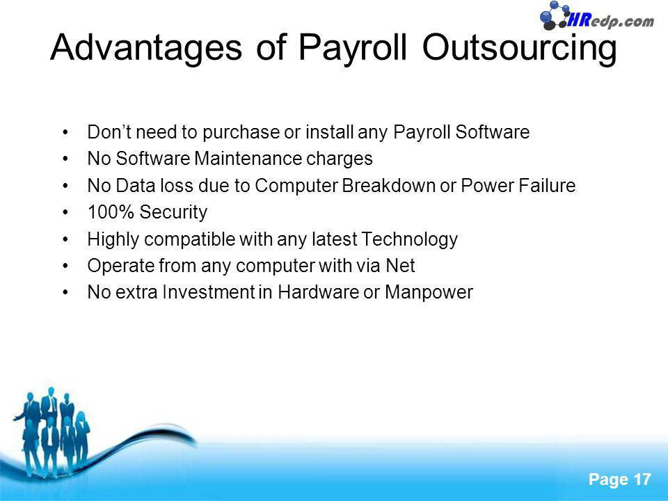 Free Powerpoint Templates Page 17 Advantages of Payroll Outsourcing Dont need to purchase or install any Payroll Software No Software Maintenance char