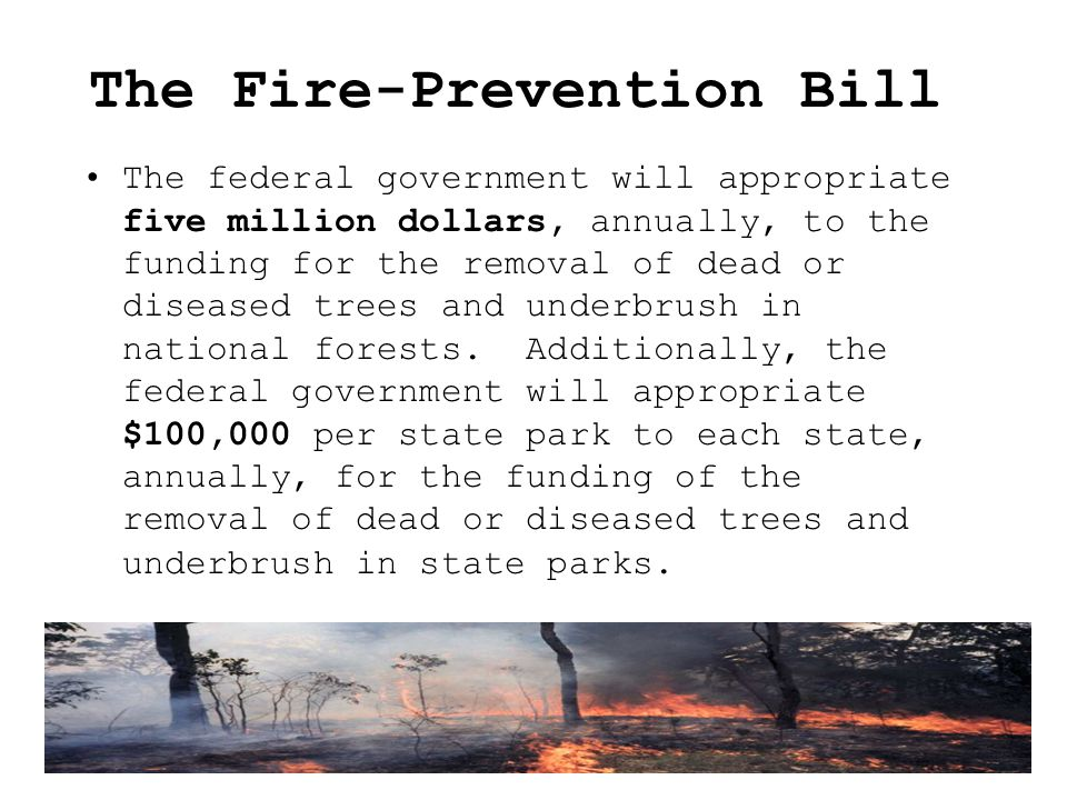The Fire-Prevention Bill The federal government will appropriate five million dollars, annually, to the funding for the removal of dead or diseased trees and underbrush in national forests.