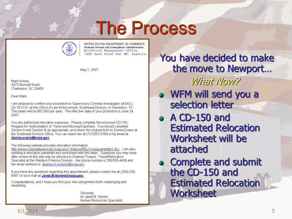 6/1/20145 The Process You have decided to make the move to Newport… What Now.
