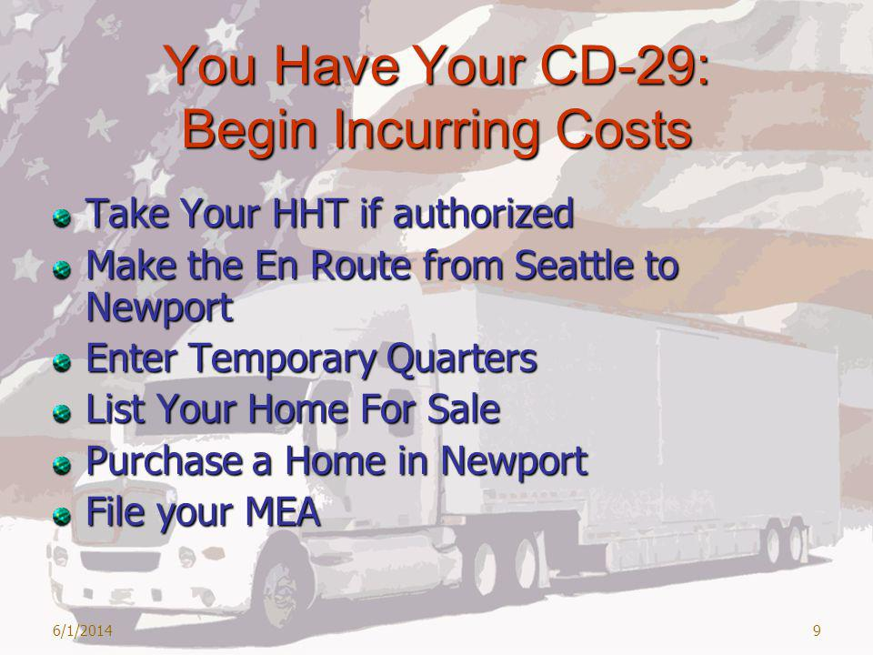 You Have Your CD-29: Begin Incurring Costs Take Your HHT if authorized Make the En Route from Seattle to Newport Enter Temporary Quarters List Your Home For Sale Purchase a Home in Newport File your MEA 6/1/20149