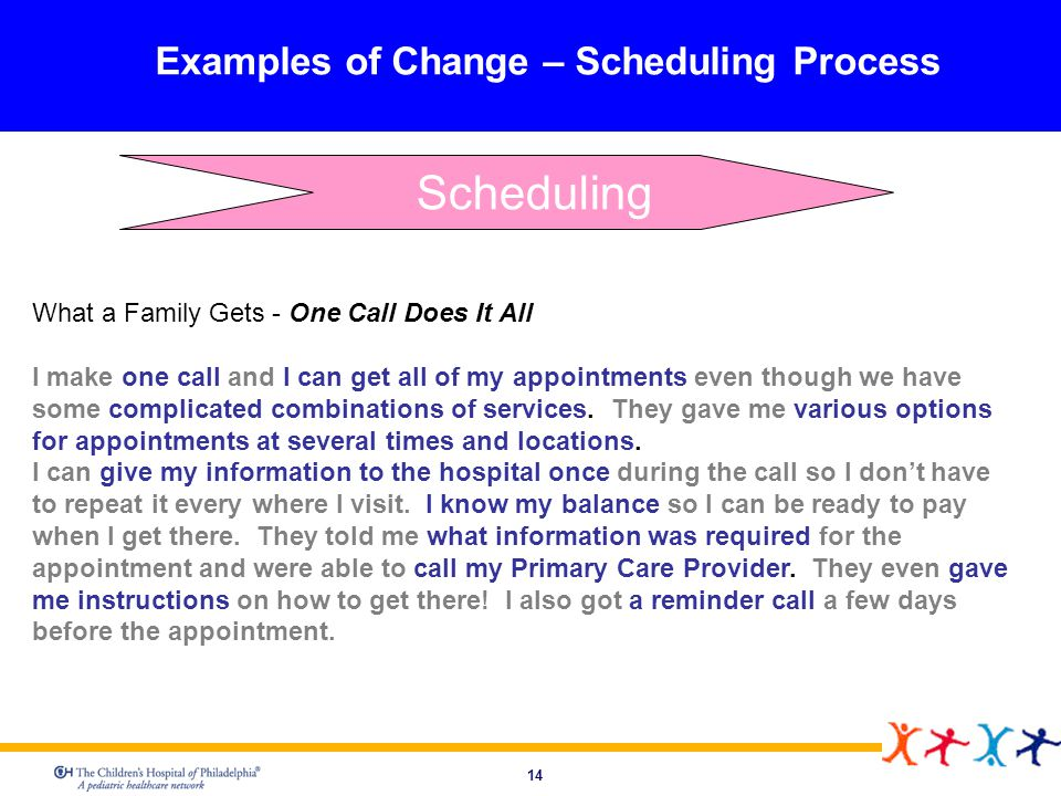14 Examples of Change – Scheduling Process What a Family Gets - One Call Does It All I make one call and I can get all of my appointments even though