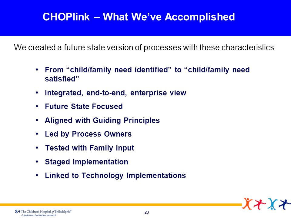 23 CHOPlink – What Weve Accomplished We created a future state version of processes with these characteristics: From child/family need identified to c