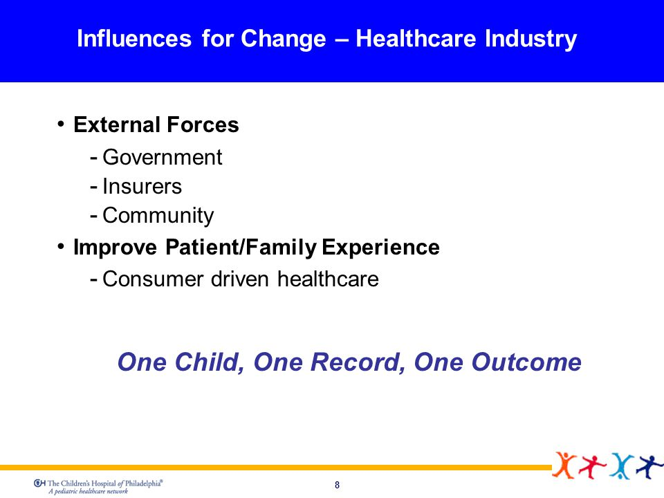8 Influences for Change – Healthcare Industry External Forces Government Insurers Community Improve Patient/Family Experience Consumer driven healthca