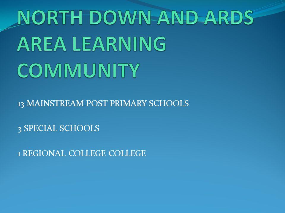 13 MAINSTREAM POST PRIMARY SCHOOLS 3 SPECIAL SCHOOLS 1 REGIONAL COLLEGE COLLEGE