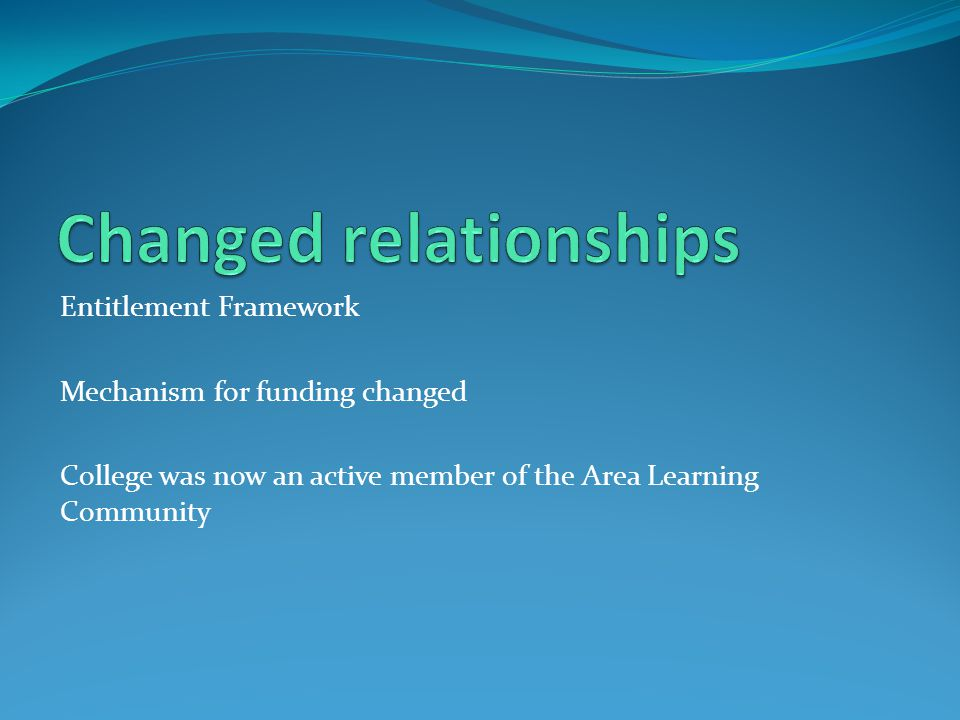 Entitlement Framework Mechanism for funding changed College was now an active member of the Area Learning Community