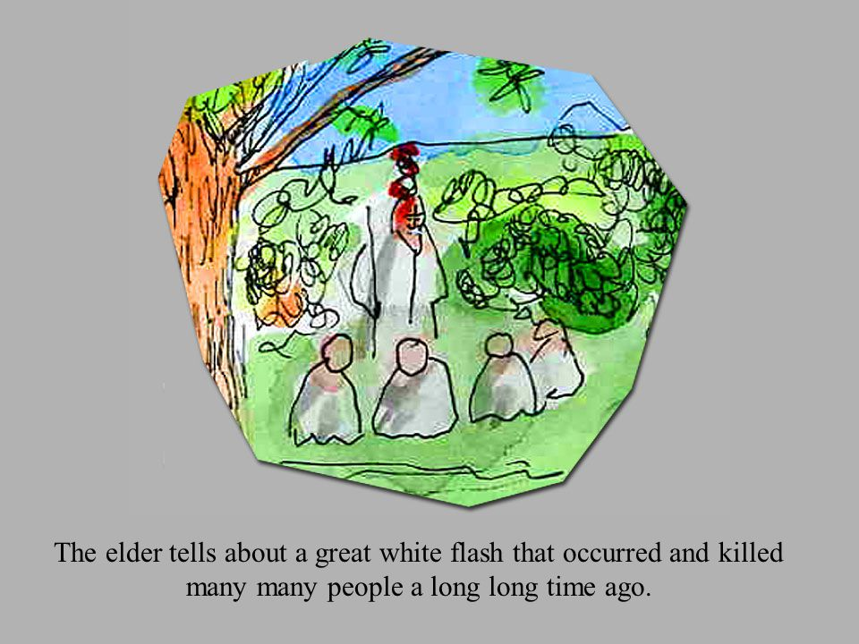 When his story is complete he leads the group of kids off into the woods.