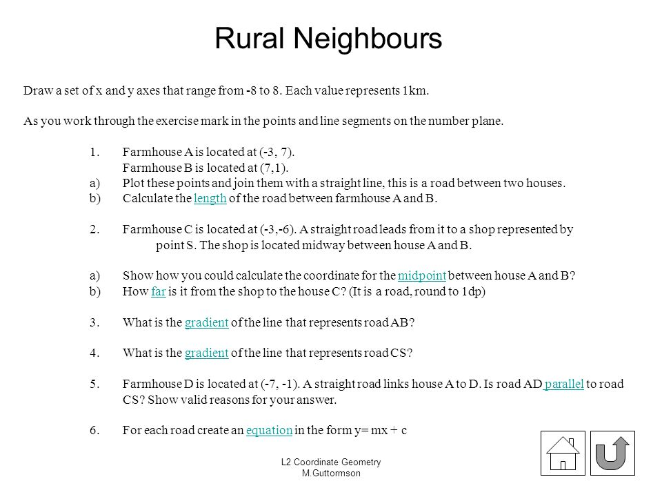 L2 Coordinate Geometry M.Guttormson Rural Neighbours Draw a set of x and y axes that range from -8 to 8. Each value represents 1km. As you work throug