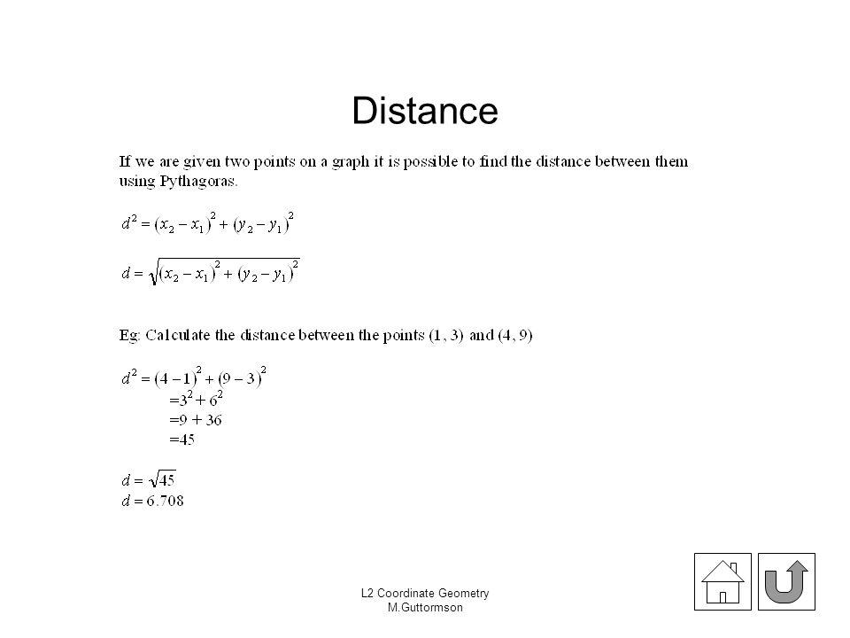 L2 Coordinate Geometry M.Guttormson Distance