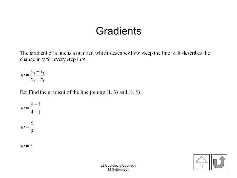 L2 Coordinate Geometry M.Guttormson Gradients