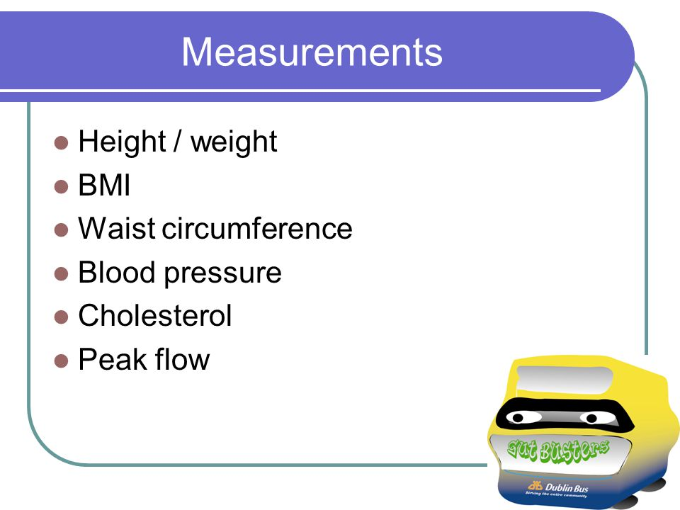 Measurements Height / weight BMI Waist circumference Blood pressure Cholesterol Peak flow
