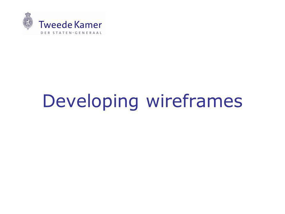 Developing wireframes