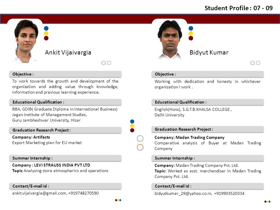 Contact/E-mail id : Summer Internship : Educational Qualification : Objective : Ankit VijaivargiaBidyut Kumar Contact/E-mail id : Summer Internship : Educational Qualification : Objective : Student Profile : 07 - 09 To work towards the growth and development of the organization and adding value through knowledge, information and previous learning experience.