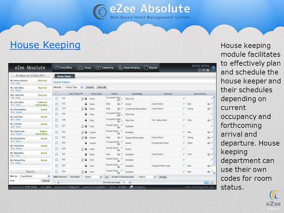 House keeping module facilitates to effectively plan and schedule the house keeper and their schedules depending on current occupancy and forthcoming