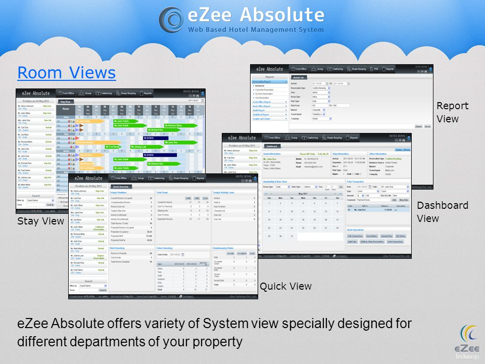 Room Views eZee Absolute offers variety of System view specially designed for different departments of your property Report View Stay View Quick View