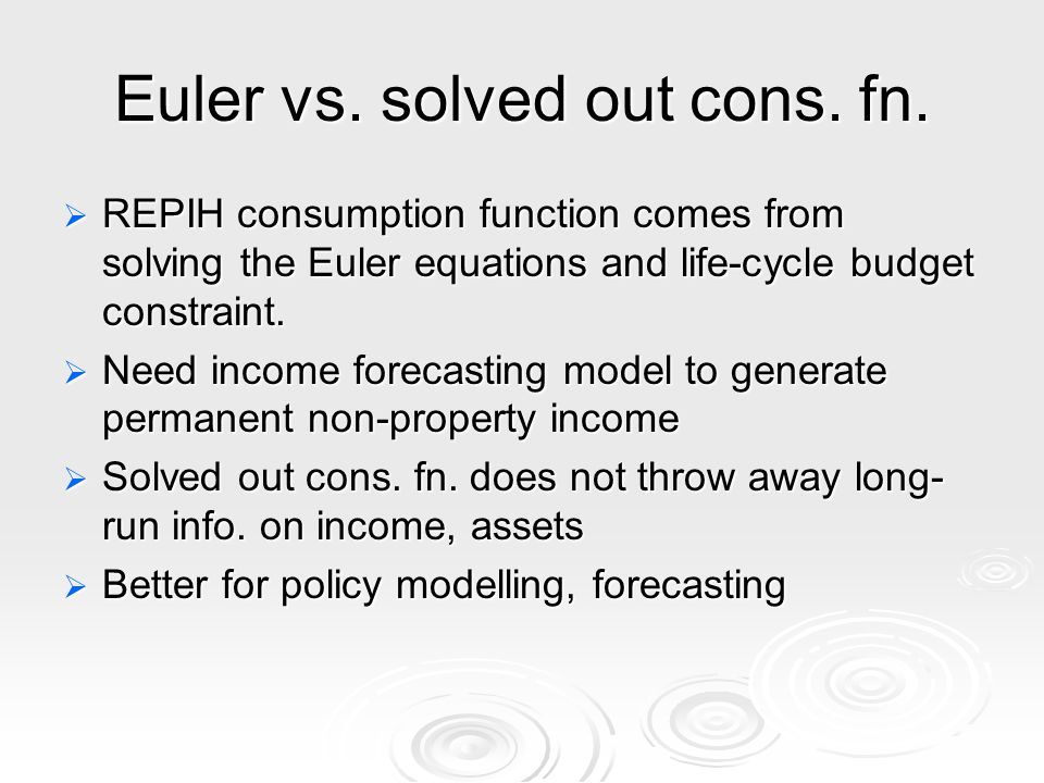 Euler vs. solved out cons. fn.