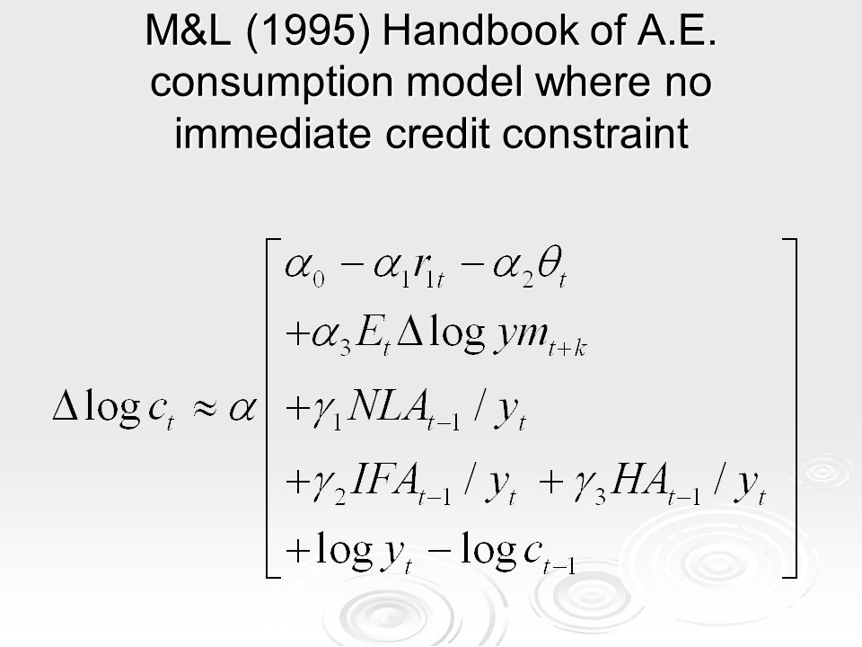 M&L (1995) Handbook of A.E. consumption model where no immediate credit constraint