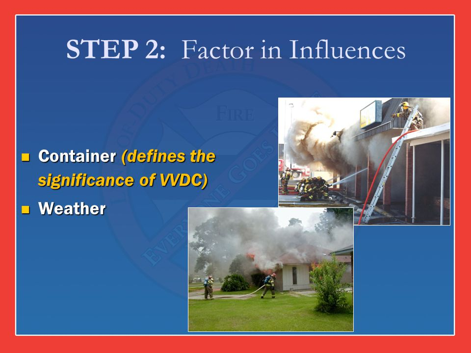 STEP 2: Factor in Influences Container (defines the significance of VVDC) Container (defines the significance of VVDC) Weather Weather