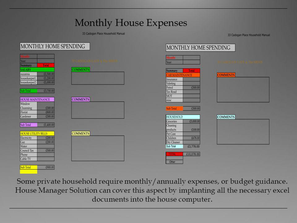 Monthly House Expenses Some private household require monthly/annually expenses, or budget guidance.